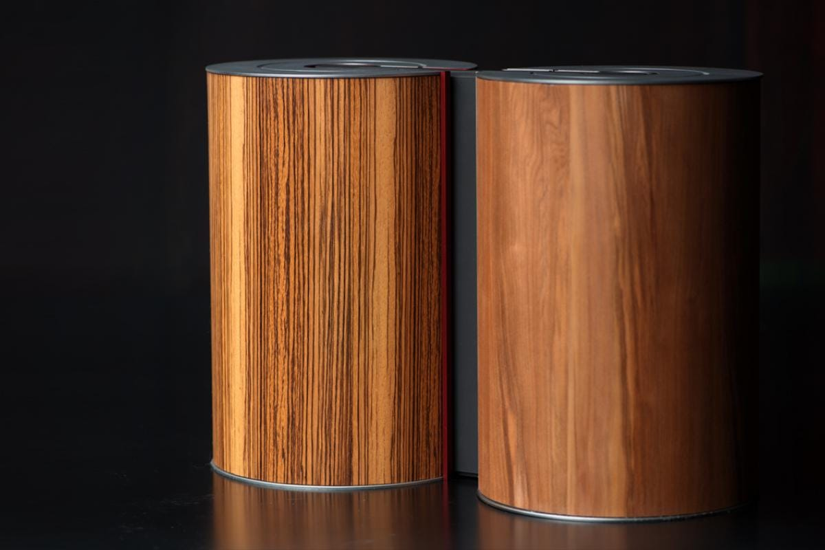 illum urn - Zebrano Burgundy + Satin Walnut Platinum